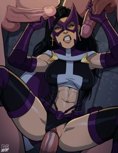 Rating: Explicit Score: 12 Tags: 1girl 3boys abs black_hair blue_eyes blush dc_comics foursome gloves handjob huntress long_hair looking_at_viewer penis_grab pumpkinsinclair sex skin_edit superhero vaginal_penetration white_female white_male User: KAZANOVA