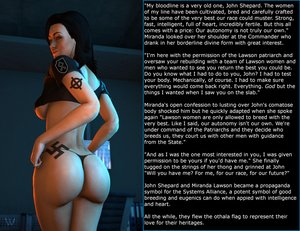 Rating: Explicit Score: 19 Tags: ass black_hair caption celtic_cross crop_top diptych_format eugenics explicit_caption fascism mass_effect miranda_lawson nordic_runes othala swastika_tattoo tattoo thong waffen_ss white_female white_pride white_supremacy User: Havokisme