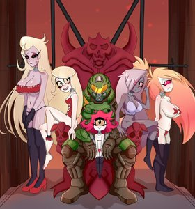 Rating: Questionable Score: 44 Tags: blush breasts character: charlie_(hazbin) cherri_bomb cleavage cuffs demon demon_girl doom_(game) doomguy exposed group harem hazbin_hotel humanoid lilith_hazbin lingerie multiple_girls niffty red_cheeks reviruu slave solo_male throne vaggie white_body white_skin yellow_eyes User: ApeApeA