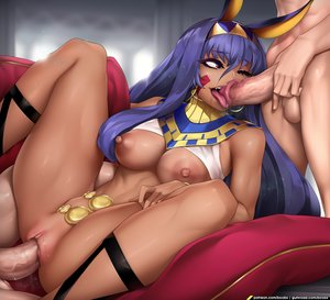 Rating: Questionable Score: 9 Tags: animal_ears blowjob brown_eyes dark_skin dark-skinned_female fate_(series) long_hair middle_eastern_female mmf_threesome nitocris purple_hair sex spread_legs threesome tongue_out vaginal_penetration User: Gognar