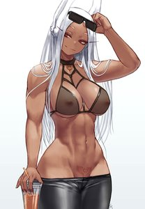 Rating: Questionable Score: 63 Tags: 1girl abs animal_ears asian_female blush breasts bunny_ears bunny_girl dark_skin dark-skinned_female fantasy_race glasses huge_breasts long_hair miruko monster_girl my_hero_academia nipples queen_of_hearts_tattoo red_eyes rumi_usagiyama solo tattoo white_hair User: KAZANOVA