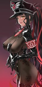 Rating: Safe Score: 71 Tags: amber_eyes asian_female black_hair fate/grand_order fate_(series) heart_vine_tattoo large_breasts military_uniform queen_of_hearts queen_of_hearts_tattoo red_armband see_through_clothing sesshouin_kiara skull_tattoo spade_slayer_tattoo tally_marks tattoo theme_accessories theme_clothing yd_(orange_maru) User: Thorn
