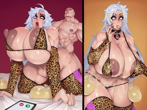 Rating: Explicit Score: 31 Tags: breasts condom_belt cum cum_on_body filled_condom huge_breasts large_insertion leopard_print queen_of_hearts rampage0118 skin_edit skin_edit_(male) stomach_bulge stray_pubic_hair thick_thighs white_female white_hair User: komral