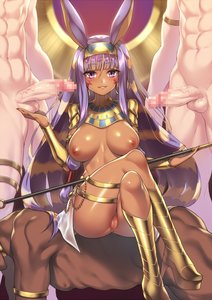 Rating: Explicit Score: 20 Tags: 1girl 3boys african_female african_male_humiliation animal_ears areolae ass balls big_ass big_breasts big_penis blush breasts cupping_balls dark_skin dark-skinned_female dark-skinned_male egyptian fate/grand_order fate_(series) fuya_(tempupupu) high_heels legs_crossed long_hair looking_at_viewer makeup nipples nitocris partially_clothed penis purple_eyes purple_hair pussy sitting_on_person skin_edit skin_edit_(male) smile thick_thighs veiny_penis wide_hips User: AnikiBleach