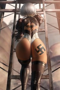 Rating: Questionable Score: 53 Tags: 2b big_ass nier_automata nier_(series) reichsadler swastika swastika_tattoo tattoo User: wisteria