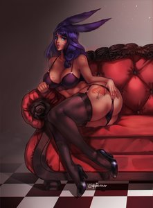 Rating: Questionable Score: 20 Tags: 1girl animal_ears blue_eyes blue_hair blush bunny_ears bunny_girl dark_skin dark-skinned_female fantasy_race final_fantasy final_fantasy_xiv high_heels long_hair looking_at_viewer monster_girl queen_of_hearts_tattoo solo stockings tattoo thick_thighs viera User: KAZANOVA