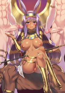 Rating: Explicit Score: 50 Tags: 1girl 3boys african_female african_male_humiliation animal_ears areolae ass balls big_ass big_breasts big_penis blush breasts cupping_balls dark_skin dark-skinned_female dark-skinned_male egyptian fate/grand_order fate_(series) fuya_(tempupupu) high_heels legs_crossed long_hair looking_at_viewer makeup nipples nitocris partially_clothed penis purple_eyes purple_hair pussy sitting_on_person skin_edit skin_edit_(male) smile thick_thighs veiny_penis wide_hips User: AnikiBleach
