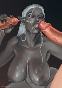 Rating: Explicit Score: 14 Tags: 1girl 2boys blowjob breasts cum cum_in_mouth cum_on_breasts cum_on_face dark_elf dark_skin dark-skinned_female drow elf fantasy_race handjob huge_breasts looking_at_viewer mmf_threesome nipples penis_grab penis_on_face phever pointy_ears red_eyes threesome white_hair User: KAZANOVA