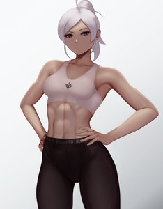 Rating: Safe Score: 70 Tags: 1girl abs blue_eyes celtic_cross hands_on_hips looking_at_viewer muscular muscular_female ponytail rwby smile solo tank_top theme_clothing white_background white_female white_hair winter_schnee zaki User: AA