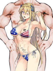 Rating: Questionable Score: 35 Tags: 1boy 1girl american_bikini artist_request bangs blonde_hair blue_eyes blush body_writing breasts breast_tattoo bwc_only character_request collarbone eyebrows_visible_through_hair feet_out_of_frame hand_on_hip heart-shaped_pupils hetero jewelry large_breasts long_hair looking_at_viewer muscular navel one_eye_closed open_mouth queen_of_hearts_tattoo skin_edit skin_edit_(male) solo_focus standing tattoo theme_clothing User: Sora