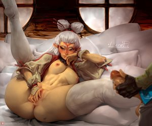 Rating: Explicit Score: 20 Tags: birthmark embarrassed fantasy_race fingering lerapi masturbation medium_breasts partially_clothed paya the_legend_of_zelda User: NovaThePious