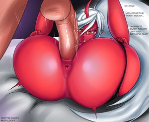 Rating: Explicit Score: 15 Tags: 1boy 1girl ass blush character_request copyright_request fantasy_race glasses horns huge_ass instant_loss_2koma long_hair looking_at_viewer mating_press :o open_mouth panty_and_stocking pointy_ears ponytail red_skin sex text thick_thighs vaginal_penetration white_hair yellow_eyes User: KAZANOVA