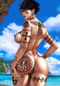 Rating: Explicit Score: 24 Tags: 1488 1girl back_tattoo bayonetta bayonetta_(character) beach black_hair black_sun buttplug celtic_cross dandon_fuga edit glasses maximus nude queen_of_hearts_tattoo short_hair solo tattoo water white_female User: GoodHunter