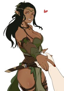 Rating: Questionable Score: 45 Tags: dark_elf dark-skinned_female elf fantasy_race heart holding_hands looking_at_viewer male_pov not_porn pointy_ears skin_edit skin_edit_(female) wholesome User: Gognar