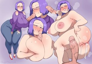 Rating: Explicit Score: 23 Tags: :>= 1boy 1girl ass bbw blowjob blush breasts cum cum_in_ass cum_in_pussy glasses huge_ass huge_breasts looking_at_viewer nipples purple_hair red_eyes short_hair skin_edit sweat thick_thighs titty_fuck white_female white_male User: KAZANOVA