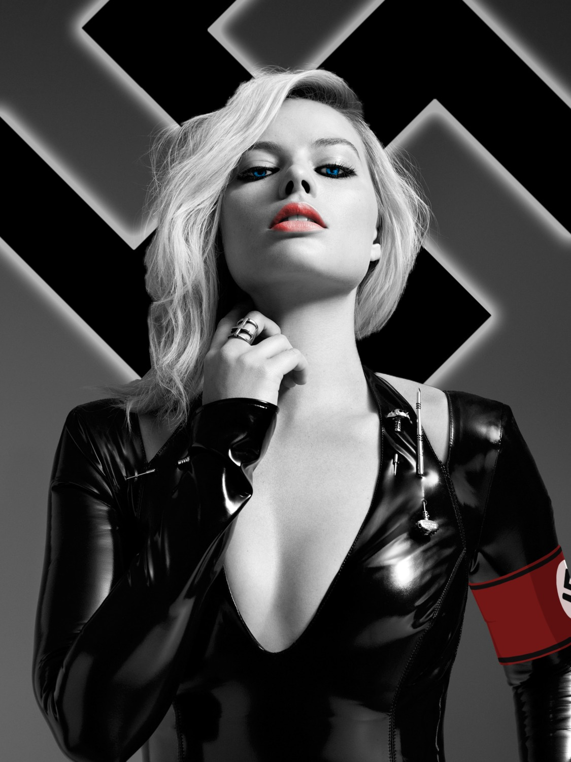 1girl blue_eyes breasts cleavage clothed edited female_focus female_only latex leather looking_at_viewer margot_robbie monochrome nazi revealing_clothes simple_background small_breasts solo swastika theme_clothing white_female