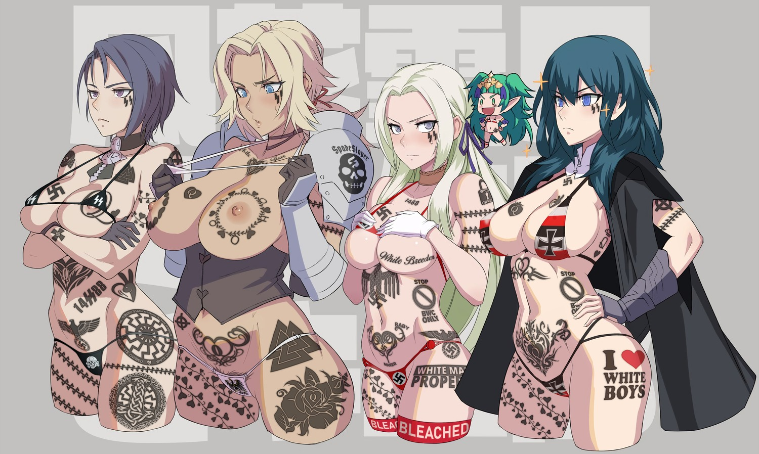 1488 5girls aryan_female bikini black_bikini black_choker black_cloak black_sun black_sun_tattoo bleachbunny blonde_hair blue_bikini blue_eyes blue_hair blush breast_rest breasts breast_suppress breast_tattoo brown_gloves bwc_only byleth_(fire_emblem) byleth_(fire_emblem)_(female) catherine_(fire_emblem) celtic_cross chibi choker cloak closed_mouth crossed_arms :d detached_collar edelgard embarrassed female_pubic_hair fire_emblem fire_emblem_three_houses fire_emblem:_three_houses gloves green_eyes green_hair grey_background grey_gloves hair_ribbon hand_on_hip hands_up heart_vine_tattoo highres i_heart_white_boys large_breasts long_hair looking_at_viewer many_tattoos medium_breasts medium_hair micro_bikini mikoyan mini_necktie multiple_girls navel nipples nipple_slip open_mouth pink_bikini ponytail pubic_hair purple_eyes purple_hair queen_of_hearts_tattoo red_ribbon reichsadler ribbon ringed_eyes shamir_nevrand short_hair smile sothis_(fire_emblem) spade_slayer_tattoo sparkle ss_tattoo swastika_tattoo sweatdrop swimsuit tattoo theme_clothing thigh_highs totenkopf underbust valknut white_bikini white_breeder white_female white_owned white_slave_tattoo white_supremacy wolfsangel womb_tattoo